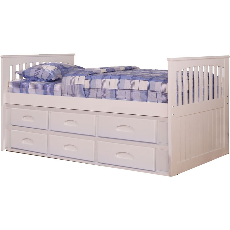 hillcrest twinsize bed frame with builtin storage and slideout trundle