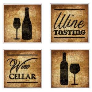 4 Piece Wine Cellar Wall Du00e9cor Set