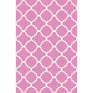 Hinman Moraccan Trellis Rubber Backed Pink Area Rug