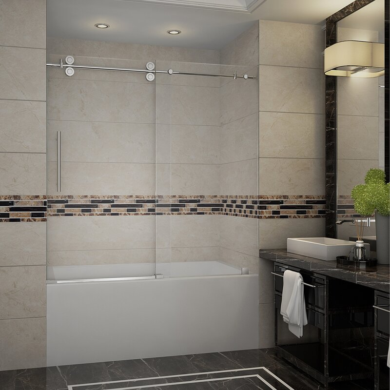 Aston Langham 60 X 60 Single Sliding Completely Frameless Tub