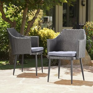 Brant Stacking Patio Dining Chair With Cushion (Set Of 2)