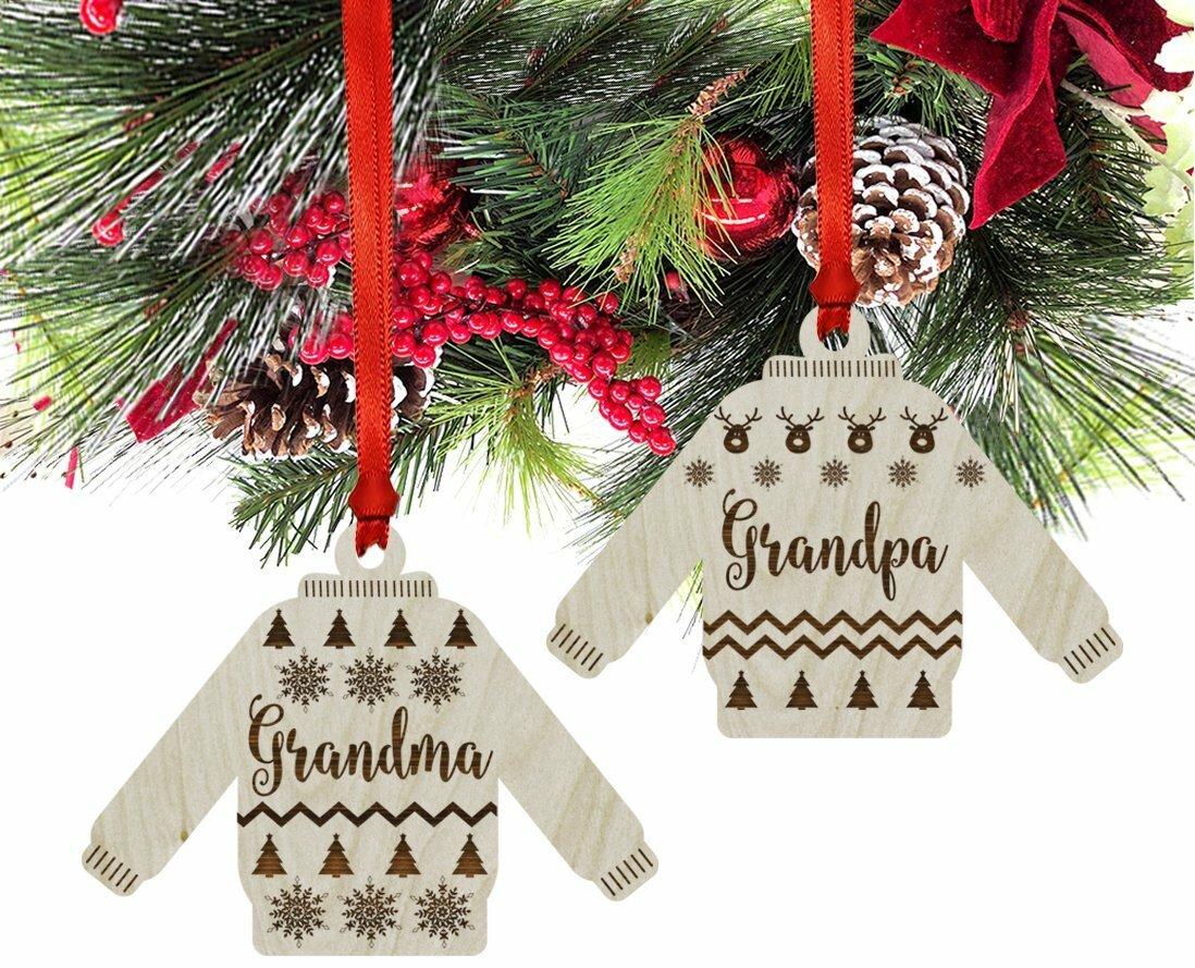 koyal wholesale 2 piece wood ugly sweater grandma grandpa christmas ornament set wayfair - Grandpa For Christmas