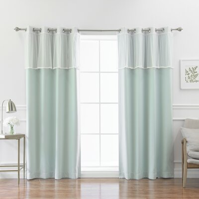 One Allium Way Guerin 4 Piece Solid Blackout Thermal Grommet Curtain Panel Set Color: Mint