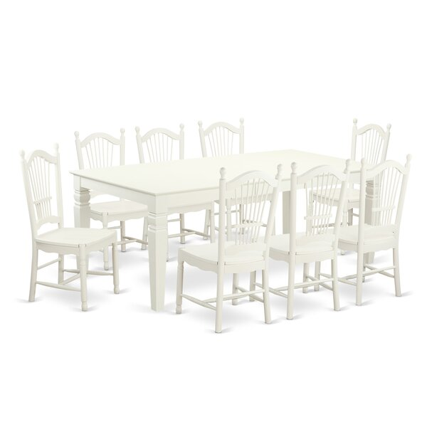 Darby Home Co Beesley 9 Piece Linen White Hardwood Dining Set U0026 Reviews |  Wayfair