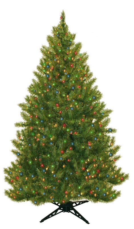 Three Posts 6 5' Evergreen Fir Artificial Christmas Tree With 450  - Multi Colored Christmas Trees