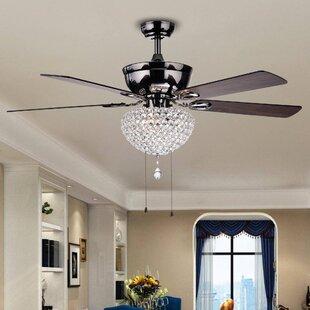 Ceiling fan with crystal light wayfair 52 irwin 5 blade ceiling fan aloadofball Image collections