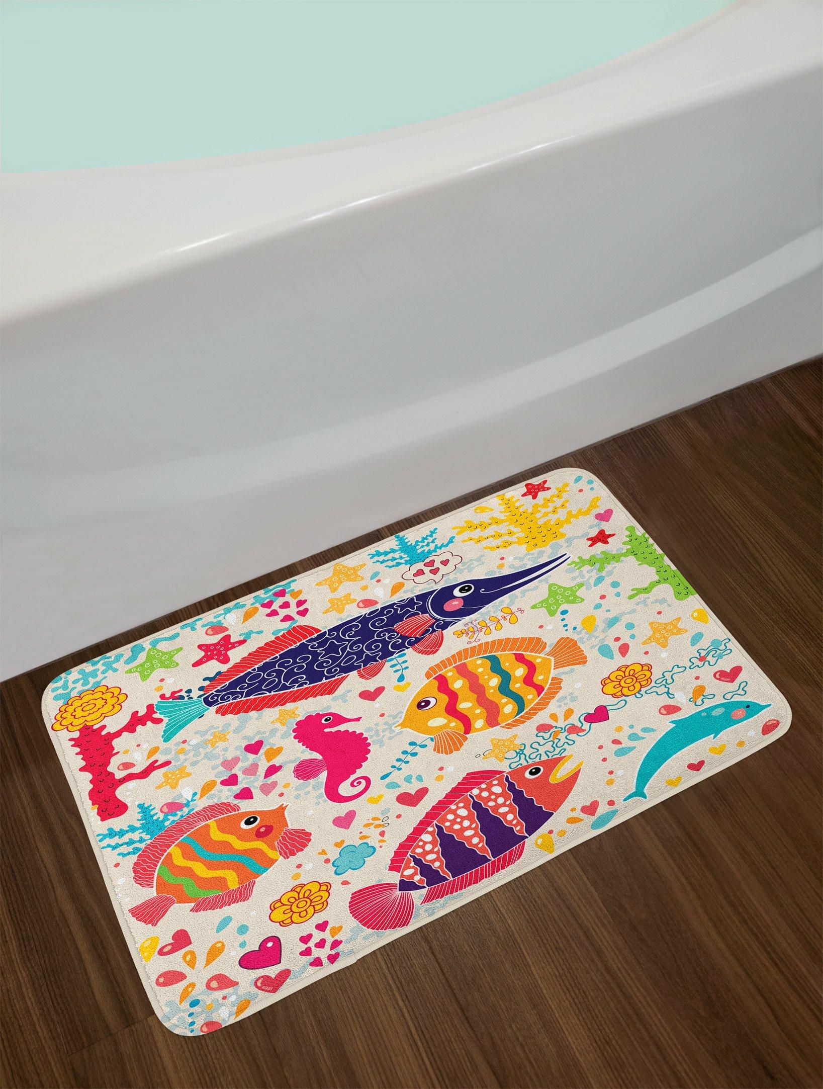Sea Animals Cartoon Whale with Sea Life Swimming Bath Rugs Non-Slip Door Mat New