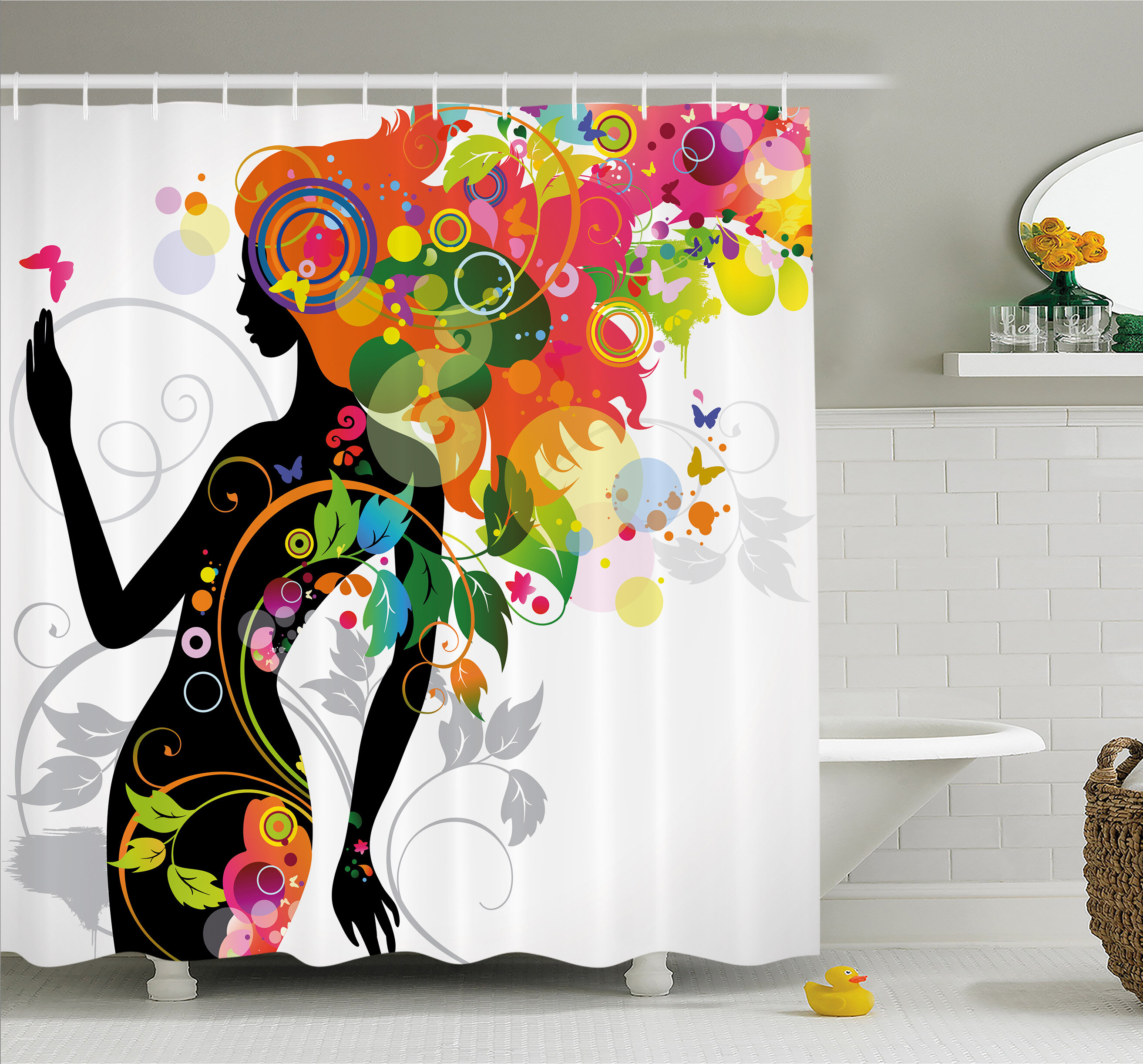 96289c742b44c Ambesonne Butterfly Modern Version with Spring Spiral Circles Leaf Botany Shower  Curtain Set   Reviews