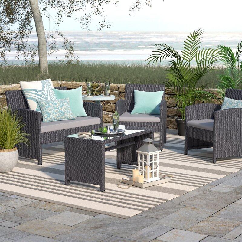 Beachcrest Home Rietta 4 Piece Sofa Set with Cushions