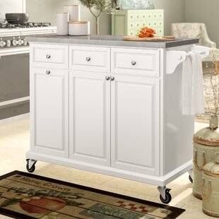 Philippe Kitchen Cart with Stainless Steel Top