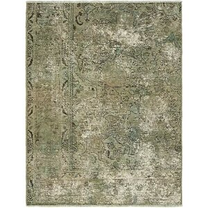 Sela Vintage Persian Hand Woven Dyed Wool Gray Area Rug