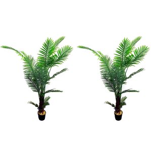 artificial paradise floor palm tree in pot set of 2