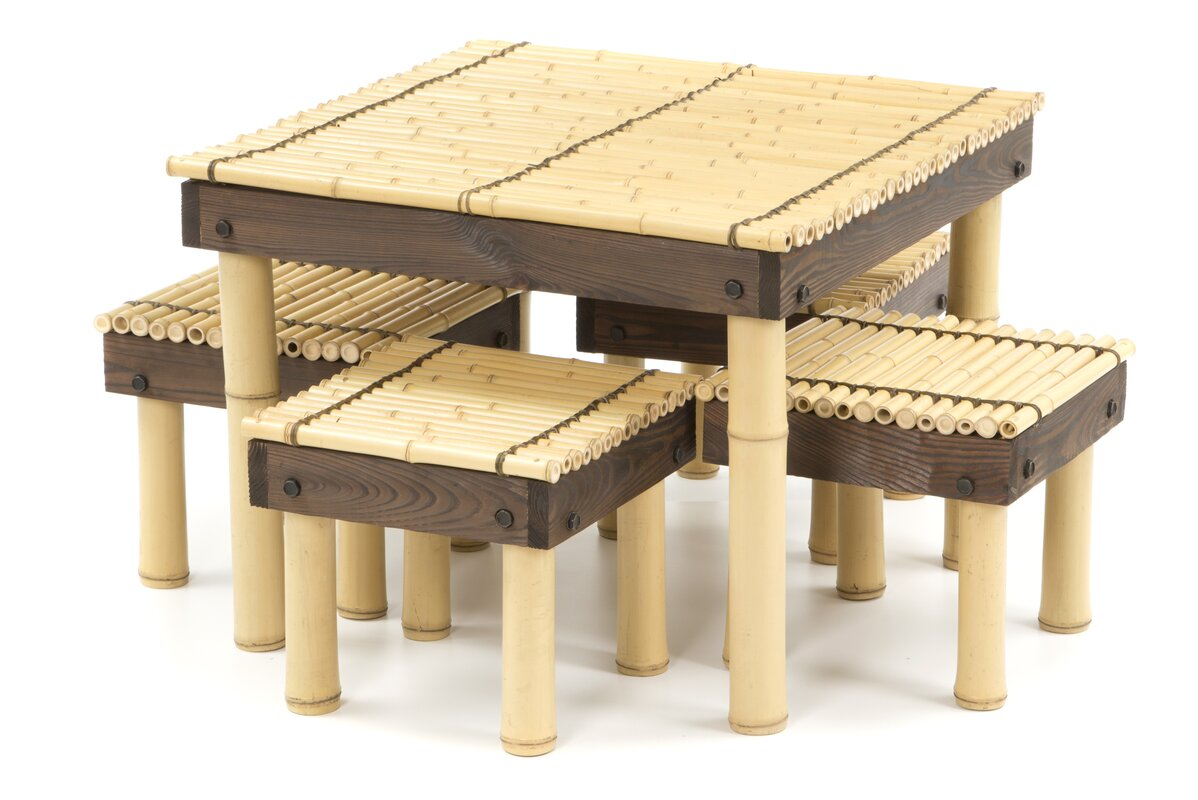 Wonderful Zen Bamboo Coffee Table With Four Stools