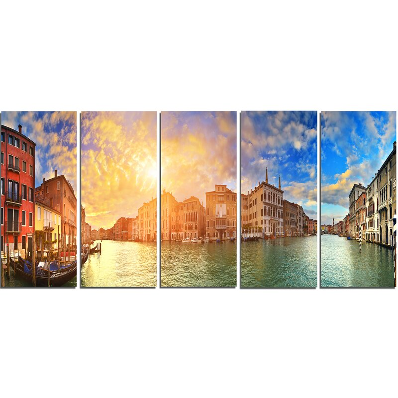 DesignArt Grand Canal Venice Panorama 5 Piece Wall Art on Wrapped ...