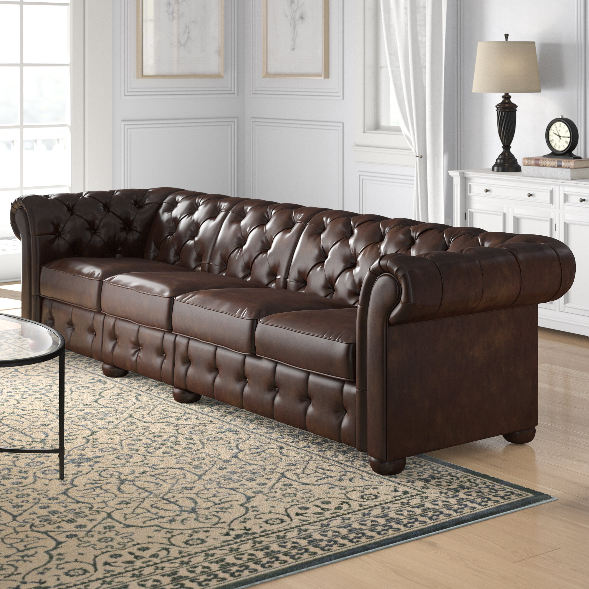 Three Posts Gowans Traditional 4 Seater Button Tufted Chesterfield