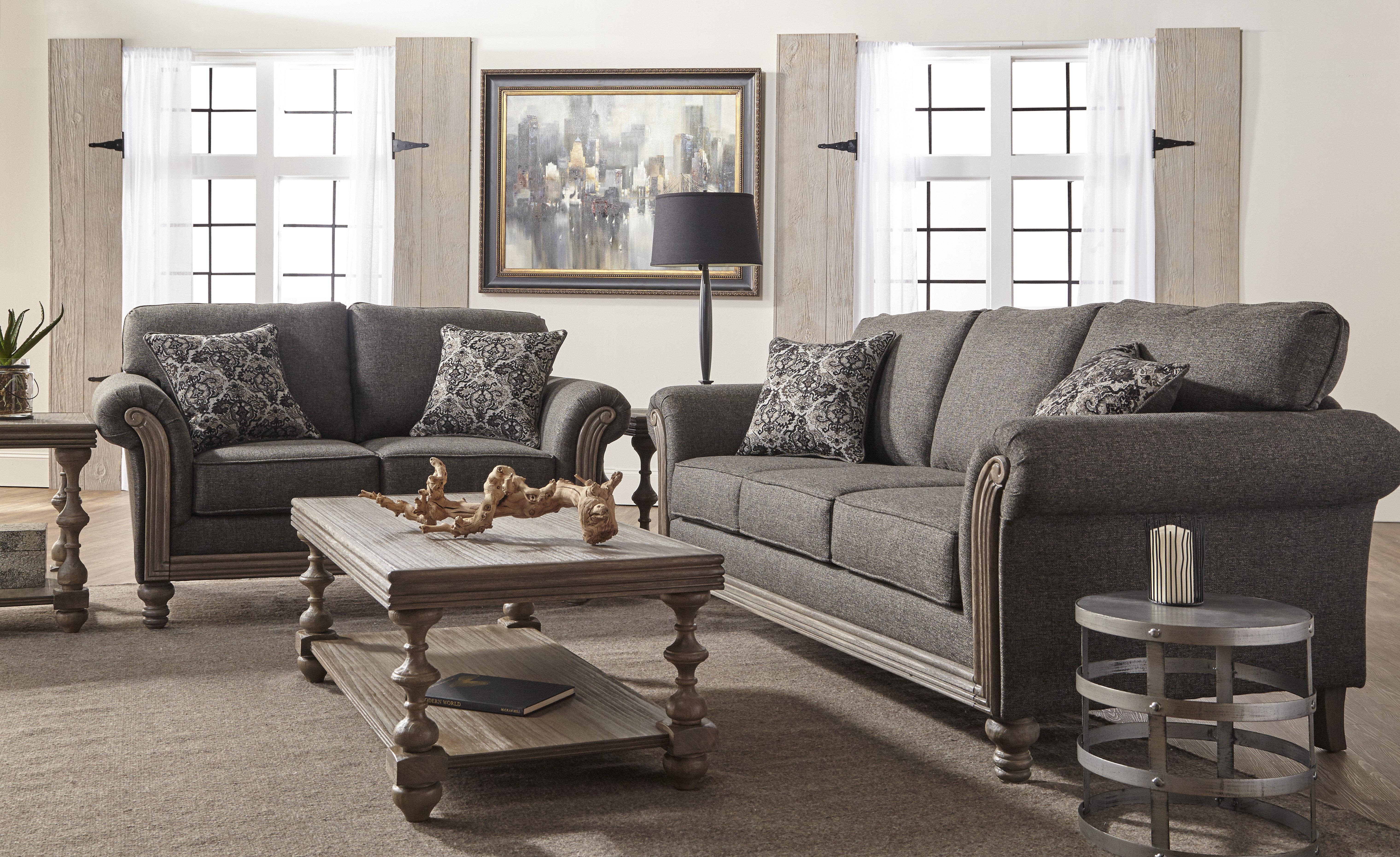 Alcott Hill Hubbert Contemporary Textured Fabric Wood Frame Leather Living Room Set Wayfair