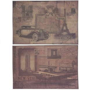 2 Piece Contemporary Burlap NY Paris Wall Décor Set