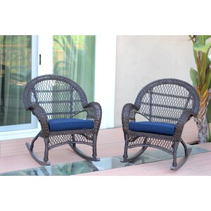 Berchmans Wicker Rocker Chair with Cushions (Set of 2)