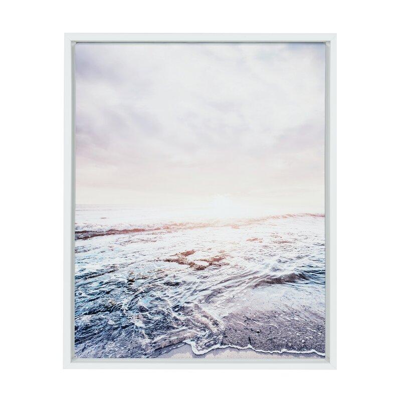 Waves on the Beach\' Framed Graphic Art Print on Canvas   AllModern