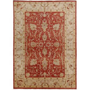 Cadwell Hand Knotted Wool Red Rug by Rosalind Wheeler