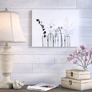 597b692ce52e  Black Flowers on White Background  Photographic Print on Canvas