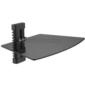 Single Tempered Glass AV Component Wall Shelf by Level Mount