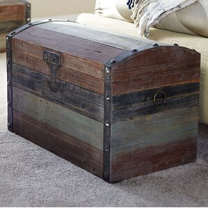 Large Weathered Wooden Storage Trunk