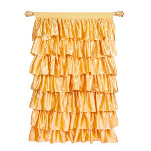 Ruffled Satin Solid Semi-Sheer Single Curtain Panel
