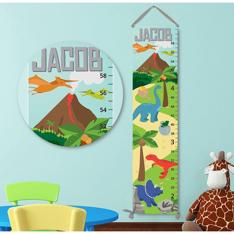 Jolie Prints Personalized Kids Gift Dinosaur Volcano Canvas Growth