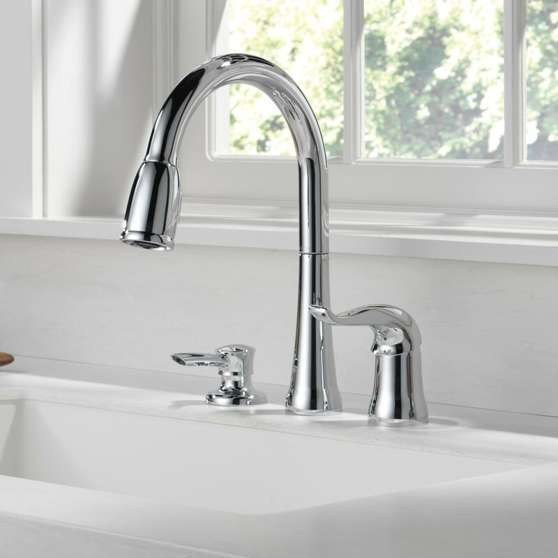 Delta Kate Pull Down Single Handle Kitchen Faucet \u0026 Reviews  Wayfair