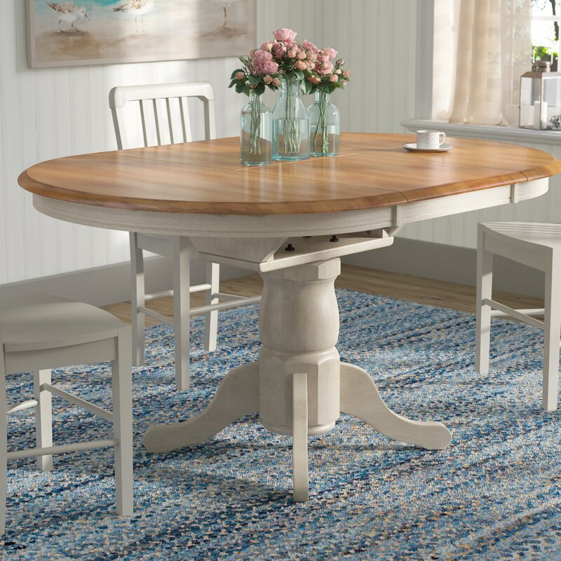 beachcrest home florentia extendable solid wood dining table rh wayfair com solid wood kitchen table top solid wood kitchen table and chairs