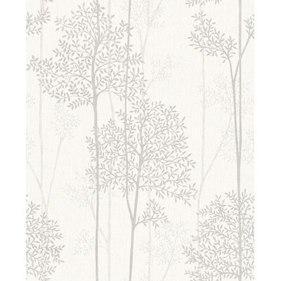 Gracie Oaks Darcella 33' x 20 Floral and Botanical Wallpaper Roll Color: White Mica