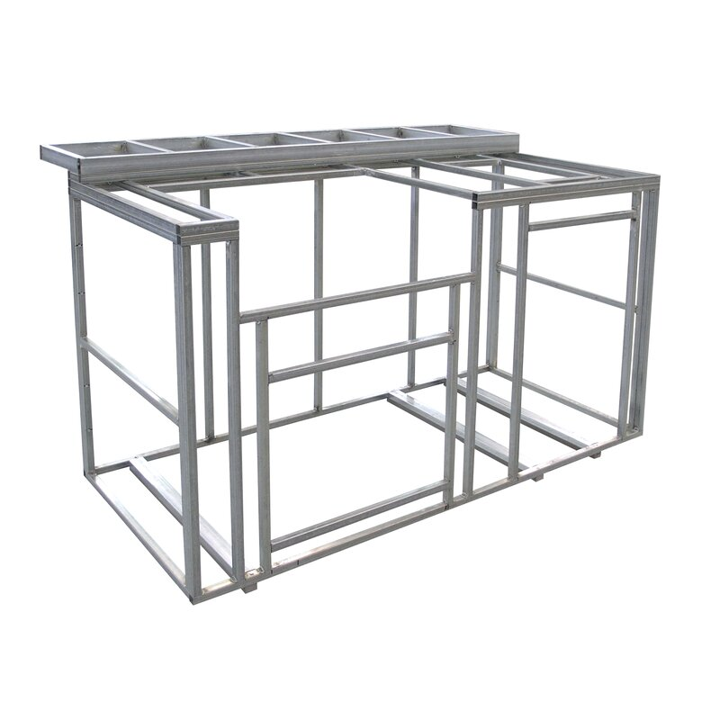 Cal Flame Outdoor Kitchen Island With Bartop Frame Kit