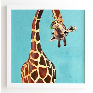 'Giraffe With Green Leaf' by Coco De Paris Framed Art