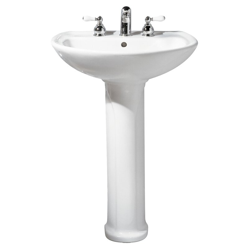 Cadet Ceramic 25 Pedestal Bathroom Sink With Overflow