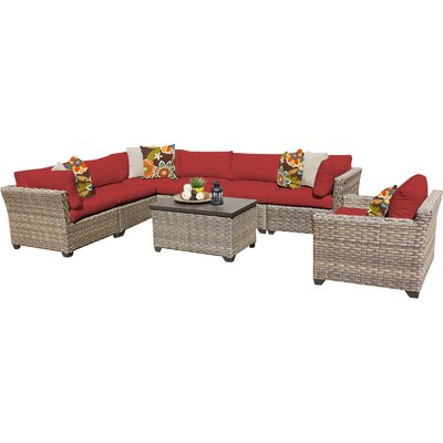 TK Classics Monterey 8 Piece Sectional Seating Group with Cushions Cushion Color: Terracotta