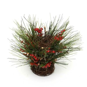 Faux Berry,Twig and Pine Centerpiece in Basket