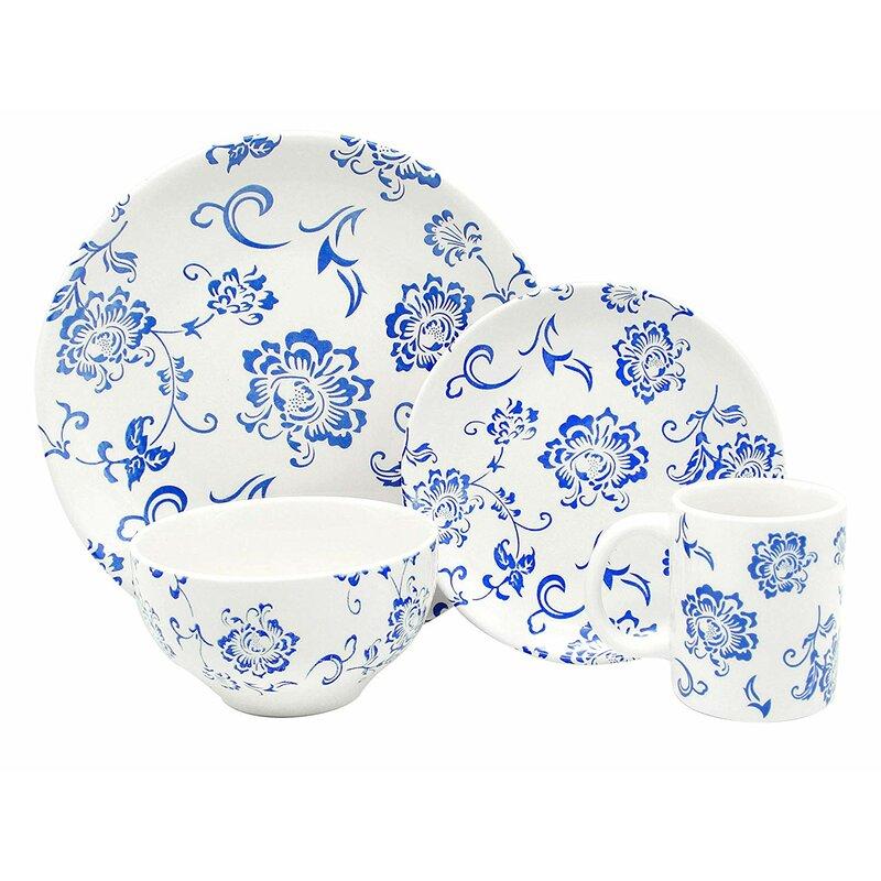 Melange Porcelain 16 Piece Dinnerware Set Indigo Royale Service