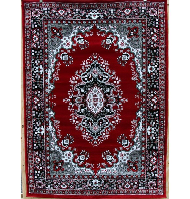 Oriental Isfahan Red Gray Area Rug