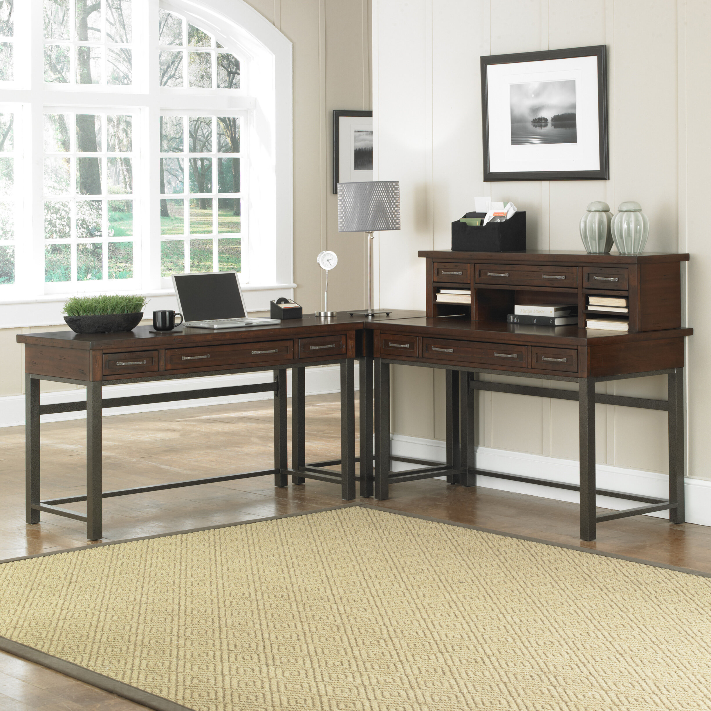 brown p hutch and reversible desks with corner platform center desk work monitor