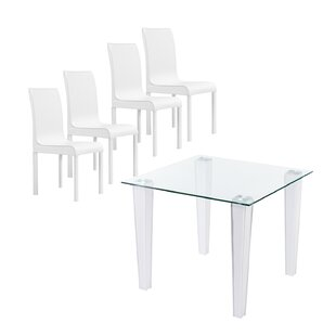Vojtech 5 Piece Breakfast Nook Dining Set