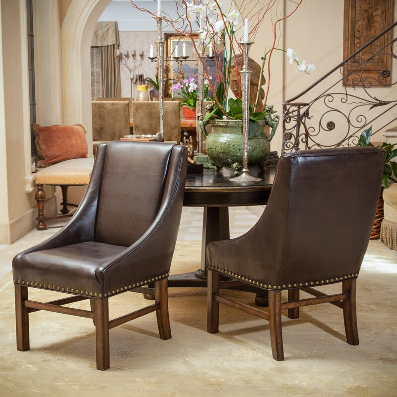 james genuine leather upholstered dining chair