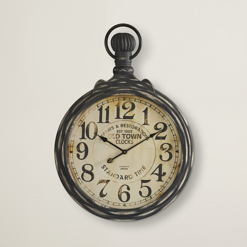 """Darby Home Co Oversized 27.5"""" Pocket Watch Wall Clock ..."""