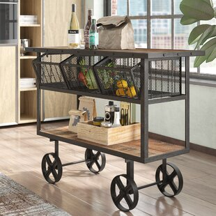 Odette Mango Wood Bar Cart Best #1