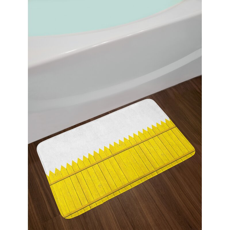 Ambesonne Yellow Bath Mat By Colorful Wooden Picket Fence Design Suburban Community Rural Parts Of
