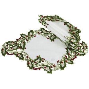 Holiday Holly Embroidered Cutwork Placemat (Set of 4)