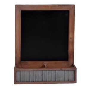 storage compartment with wall hanging wood chalkboard