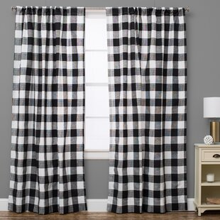 Plaid And Check Semi Sheer Rod Pocket Single Curtain Panel