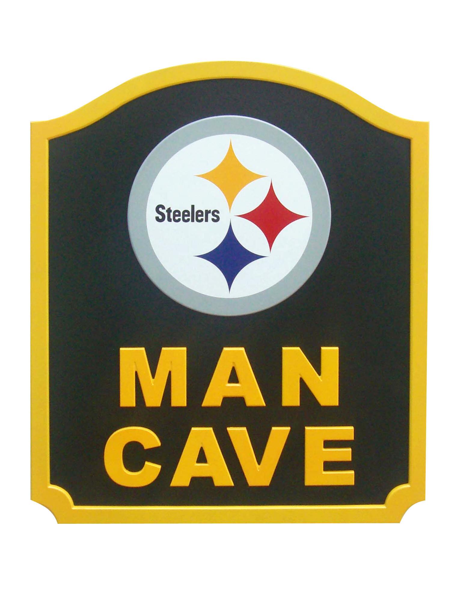 Fan Creations NFL \'Man Cave Shield\' Graphic Art Print on Wood | Wayfair