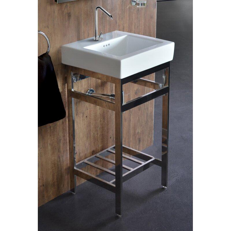 Ivy bronx arverne stainless steel open console 18 single bathroom vanity set wayfair Stainless steel bathroom vanities